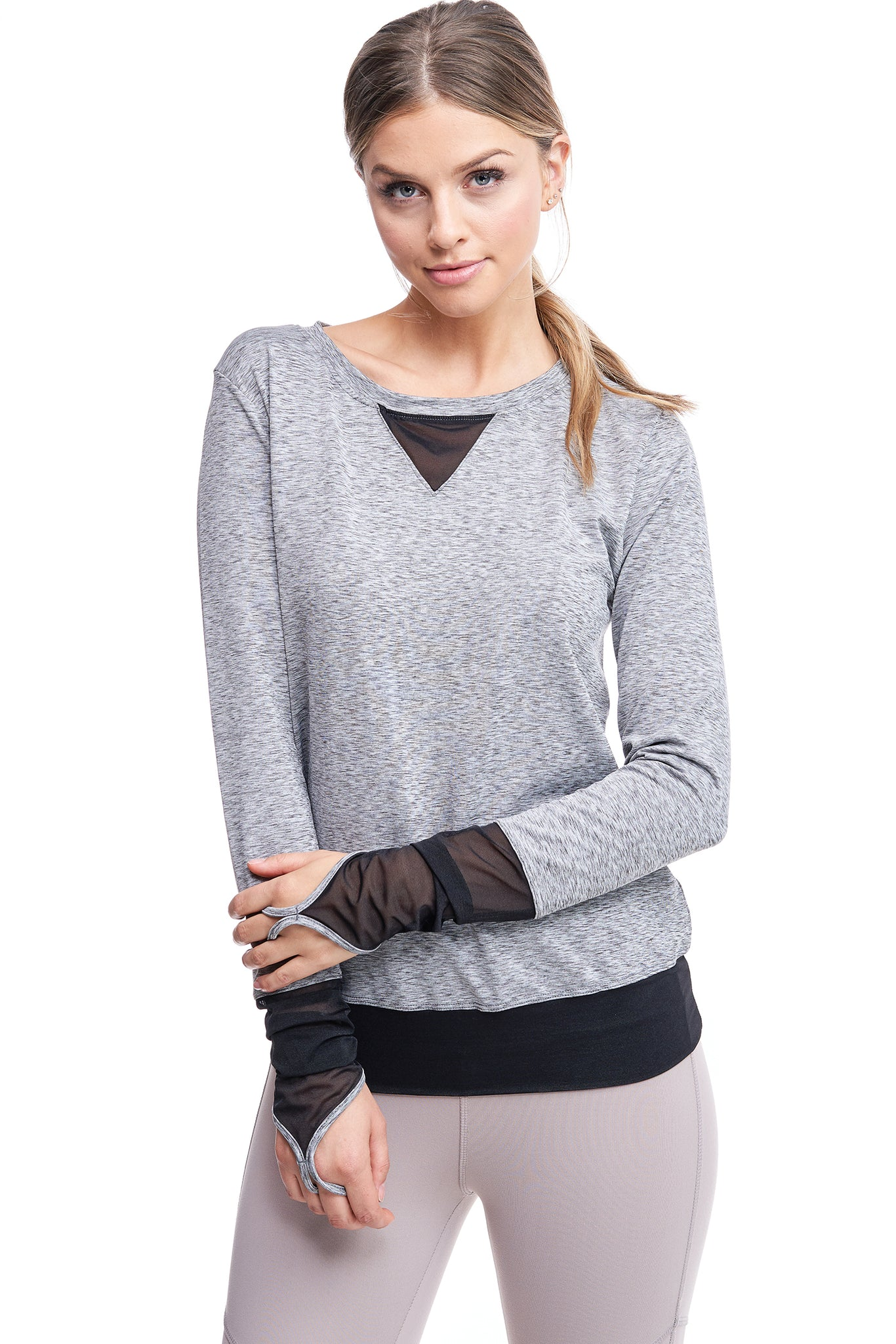 ALL ANGLES MESH PULL OVER | HEATHER
