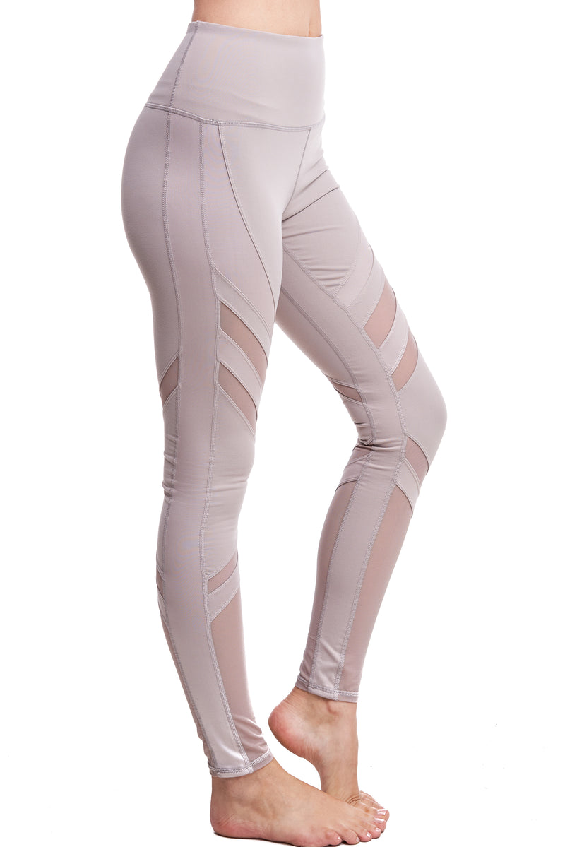 OXYGEN DIAGONAL-MESH LEGGINGS | MOCHA
