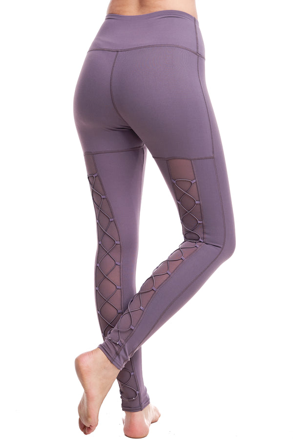 HIGH-WAISTED BACK-LACE LEGGINGS | PLUM