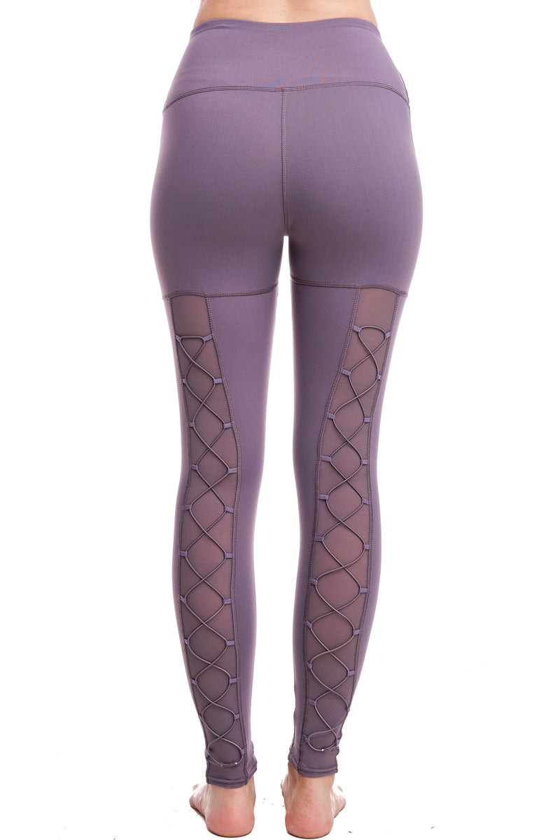 HIGH-WAISTED BACK-LACE LEGGINGS | PLUM - LA Society
