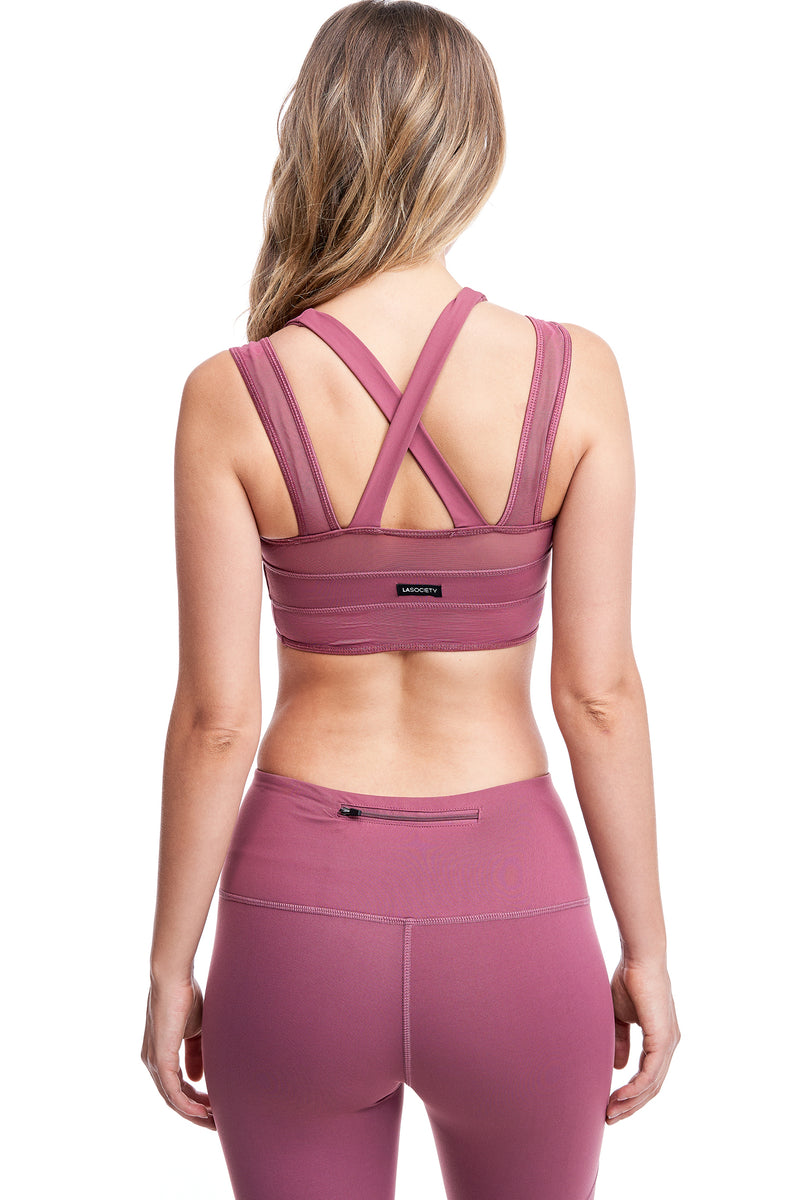 LUX CROSS-OVER SPORTS BRA | MAUVE - LA Society