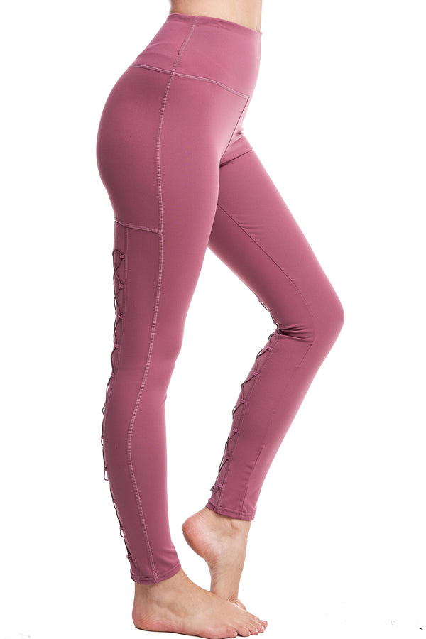 HIGH-WAISTED BACK-LACE LEGGINGS | MAUVE