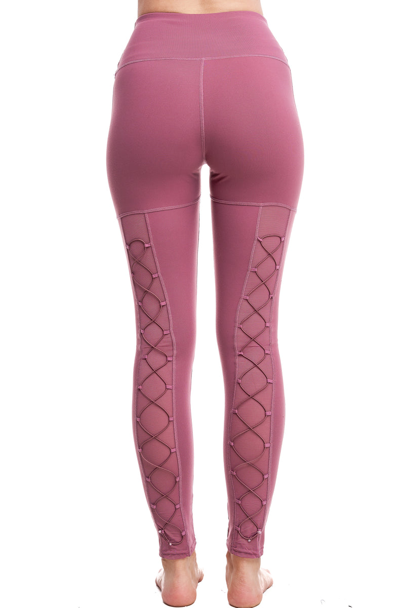 HIGH-WAISTED BACK-LACE LEGGINGS | MAUVE - LA Society