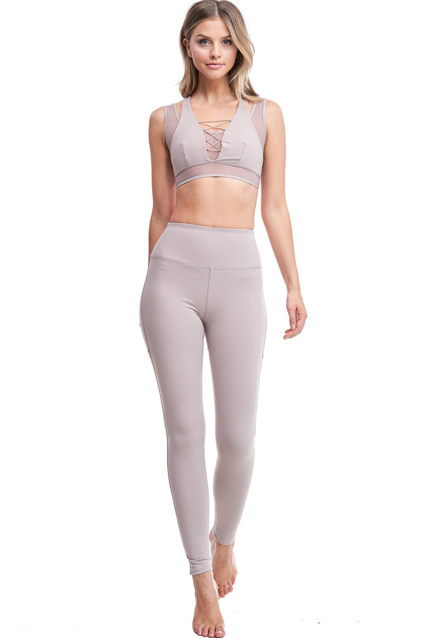 HIGH-WAISTED BACK-LACE LEGGINGS | MOCHA - LA Society
