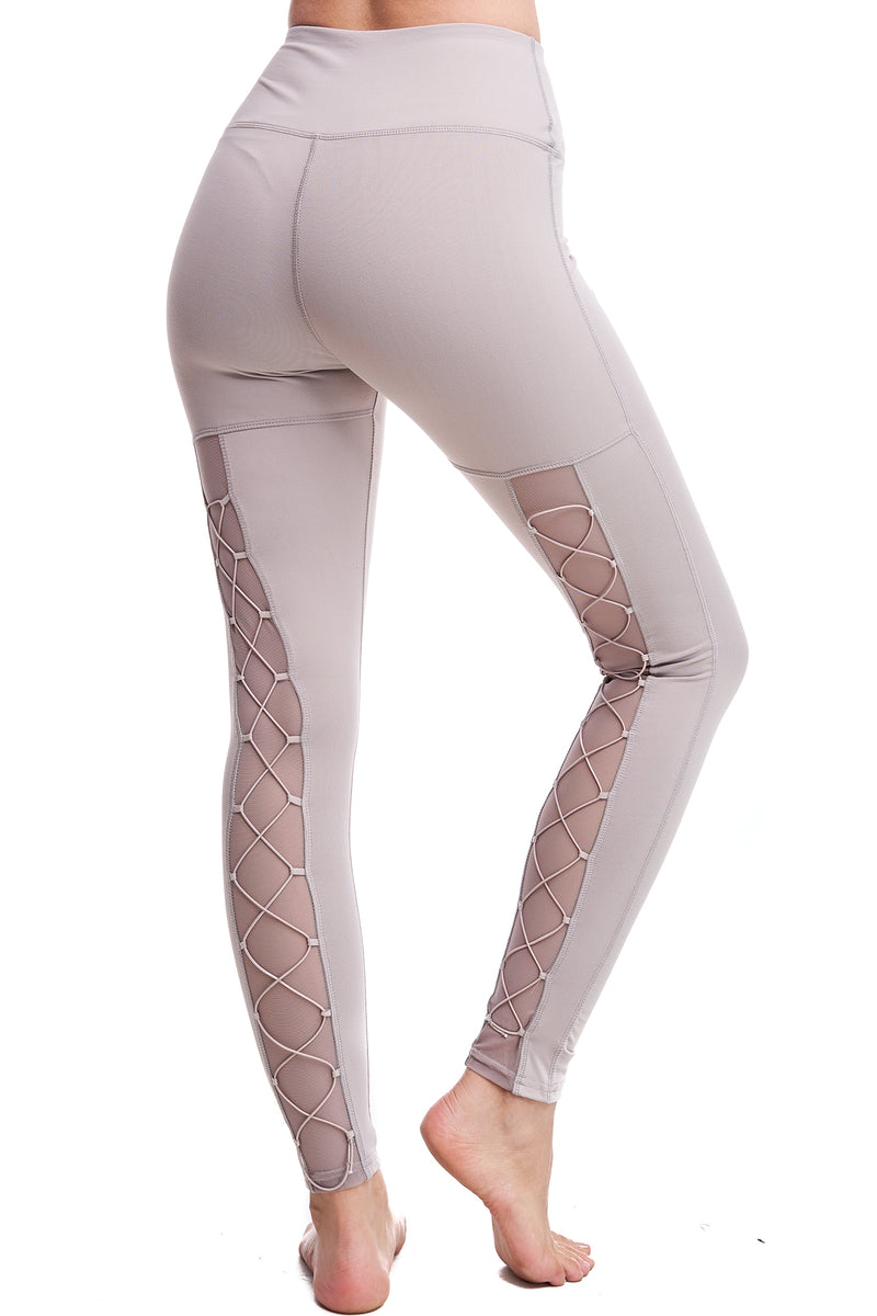 HIGH-WAISTED BACK-LACE LEGGINGS | MOCHA
