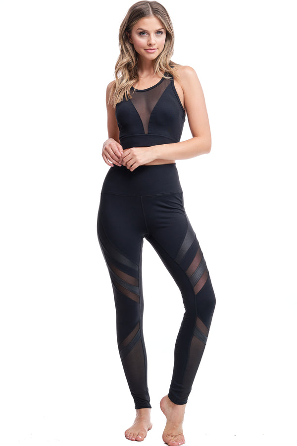 OXYGEN DIAGONAL-MESH LEGGINGS | BLACK - LA Society