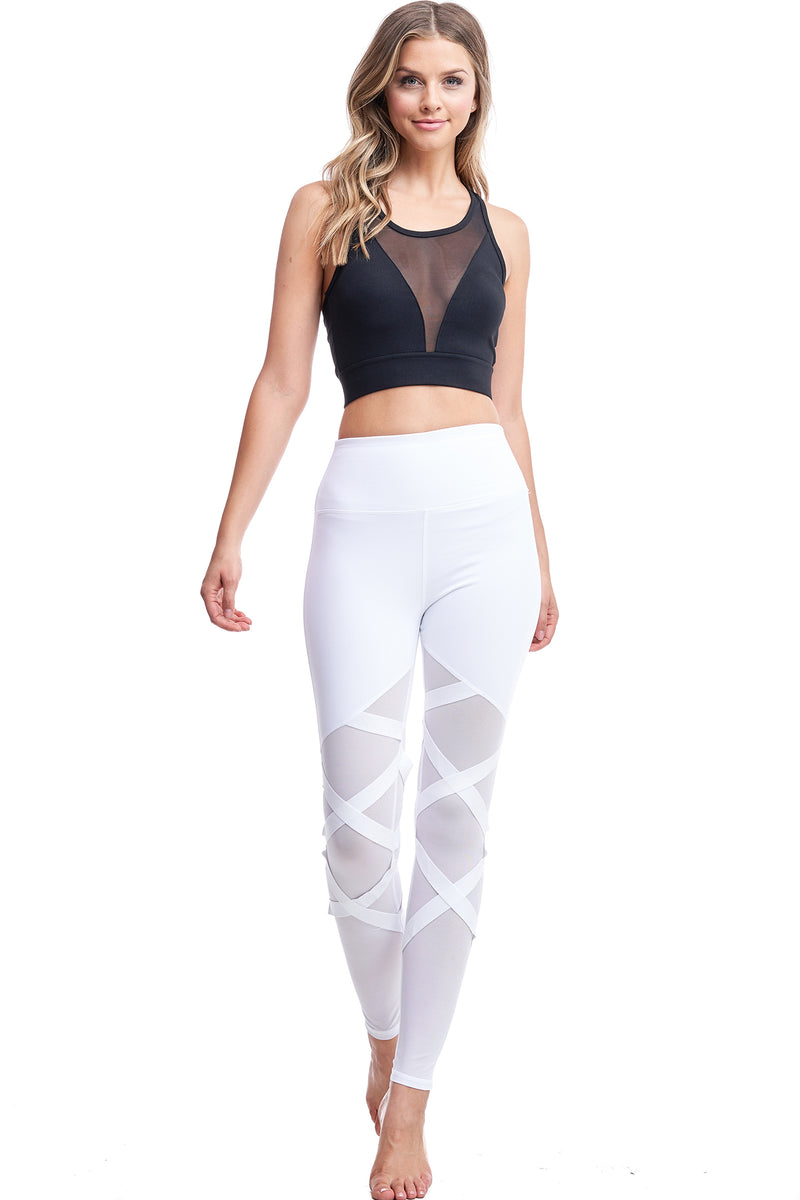 HIGH WAISTED CRISS-CROSS LEGGINGS | WHITE - LA Society