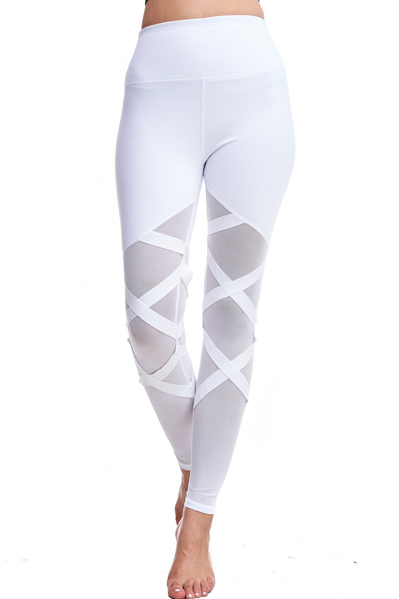 HIGH WAISTED CRISS-CROSS LEGGINGS | WHITE