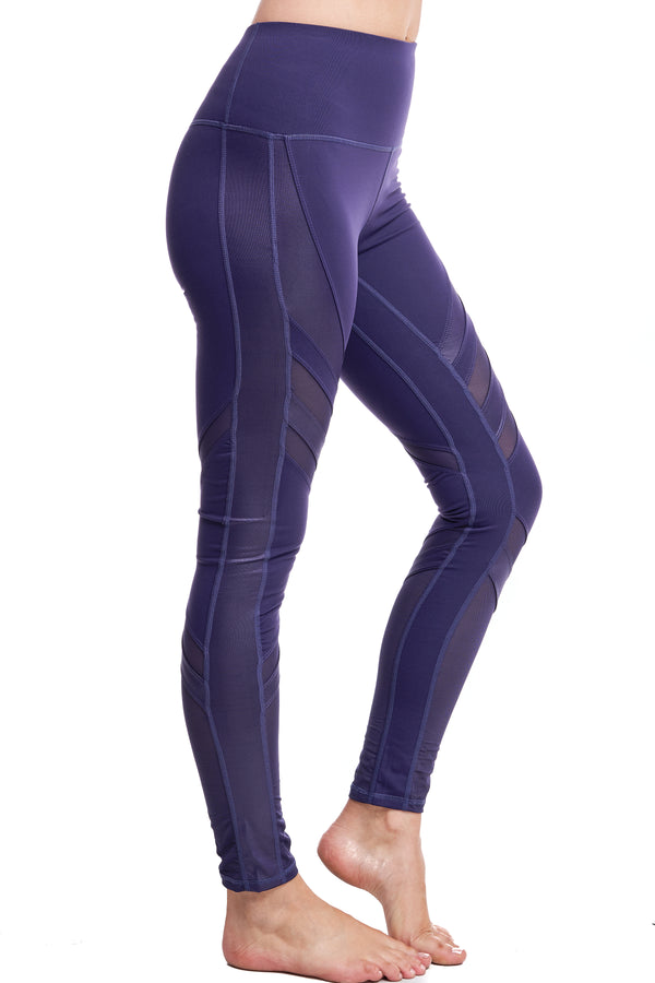 OXYGEN DIAGONAL-MESH LEGGINGS | PURPLE - LA Society