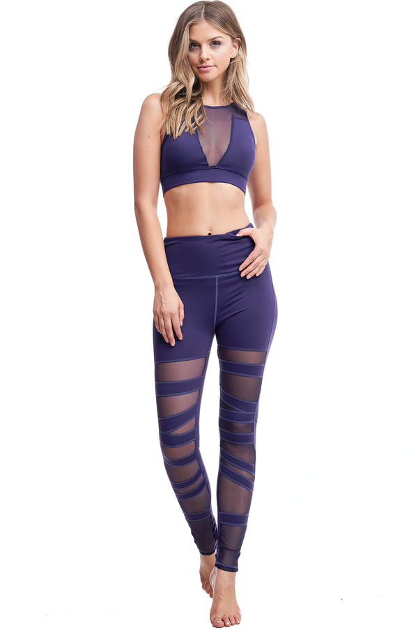 HIGH WAISTED BALLERINA MESH LEGGINGS | PURPLE - LA Society
