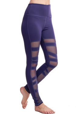 HIGH WAISTED BALLERINA MESH LEGGINGS | PURPLE