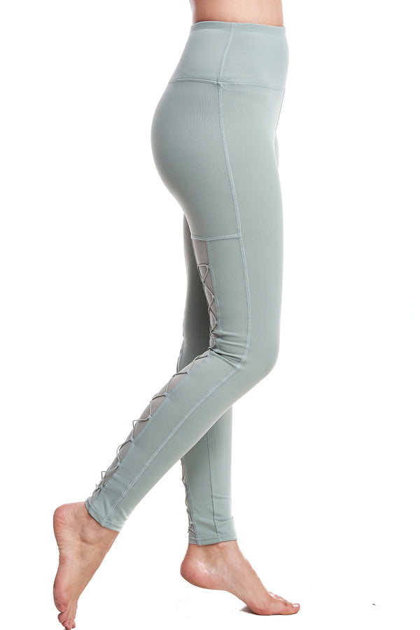 HIGH-WAISTED BACK-LACE LEGGINGS | FROST GREEN