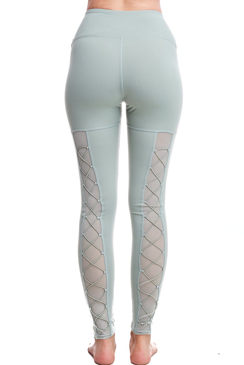 HIGH-WAISTED BACK-LACE LEGGINGS | FROST GREEN - LA Society