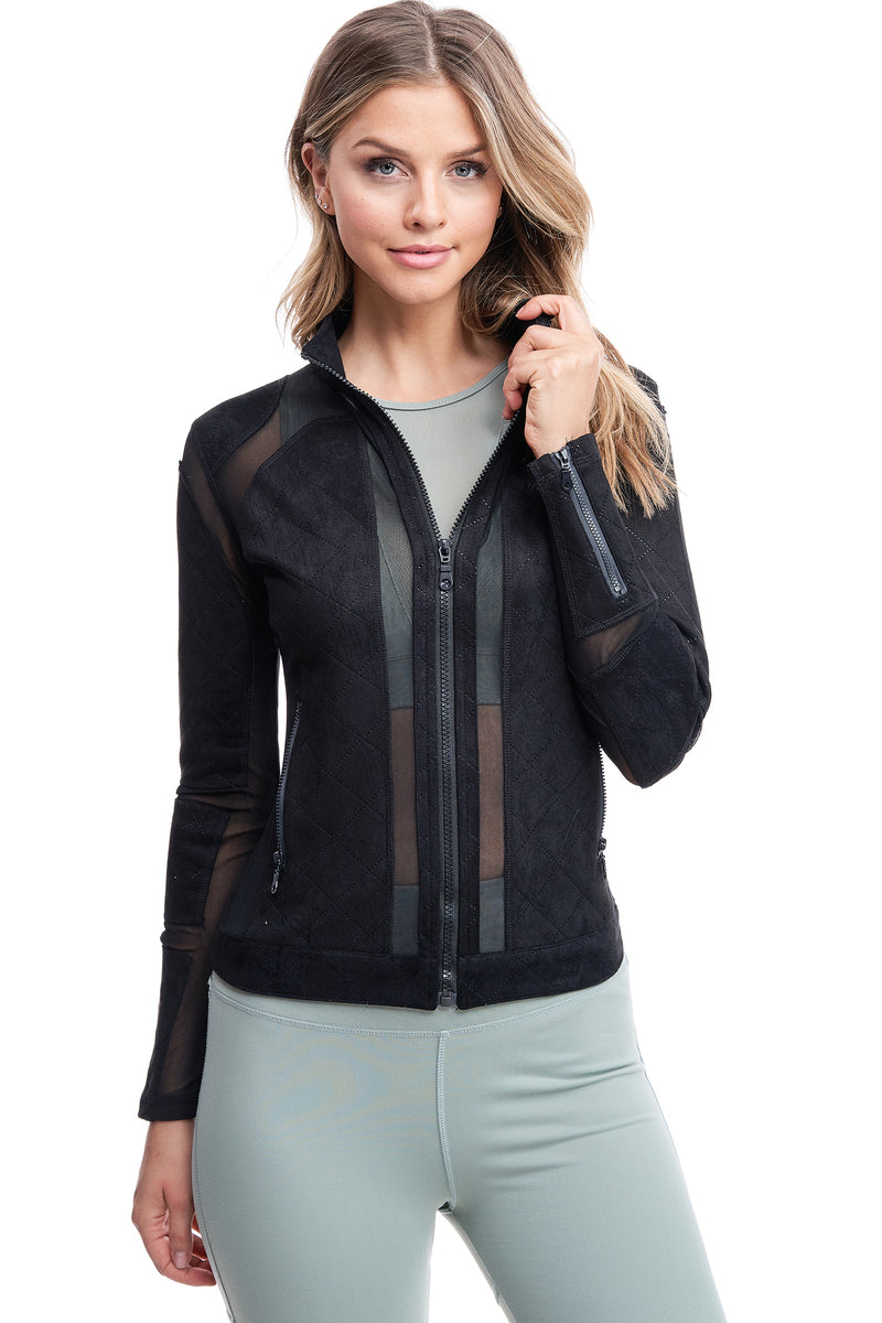 QUILTED MESH JACKET | BLACK - LA Society