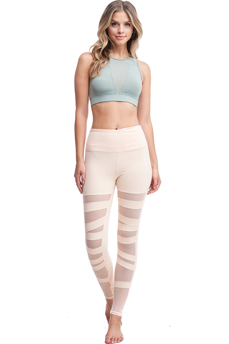 HIGH WAISTED BALLERINA MESH LEGGINGS | NUDE - LA Society