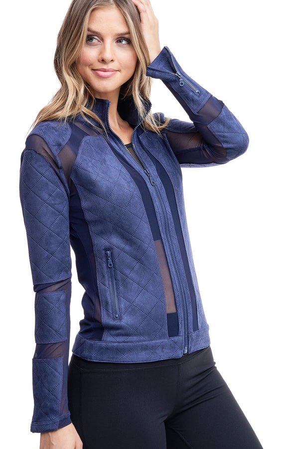 QUILTED MESH JACKET | BLUE