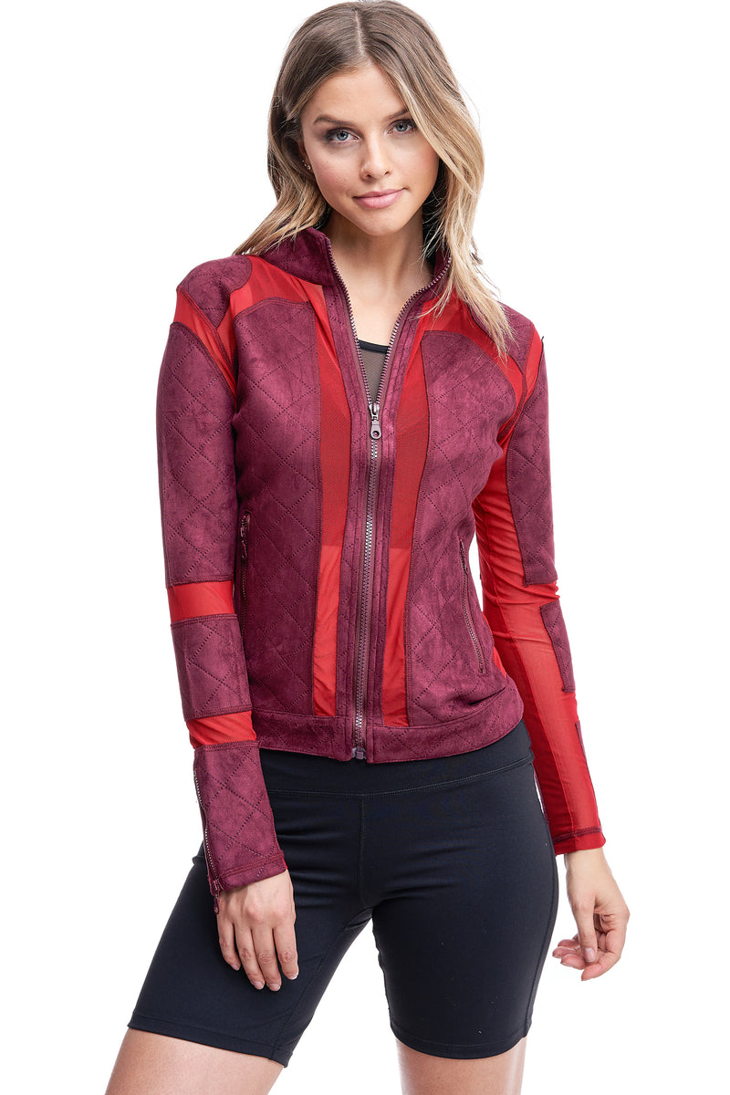 QUILTED MESH JACKET | BURGUNDY - LA Society