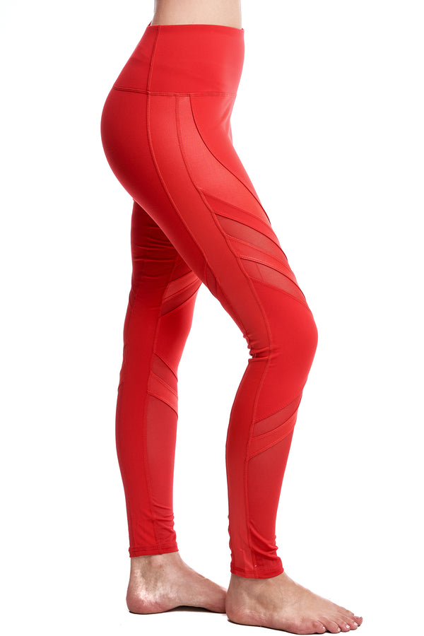OXYGEN DIAGONAL-MESH LEGGINGS | RED - LA Society