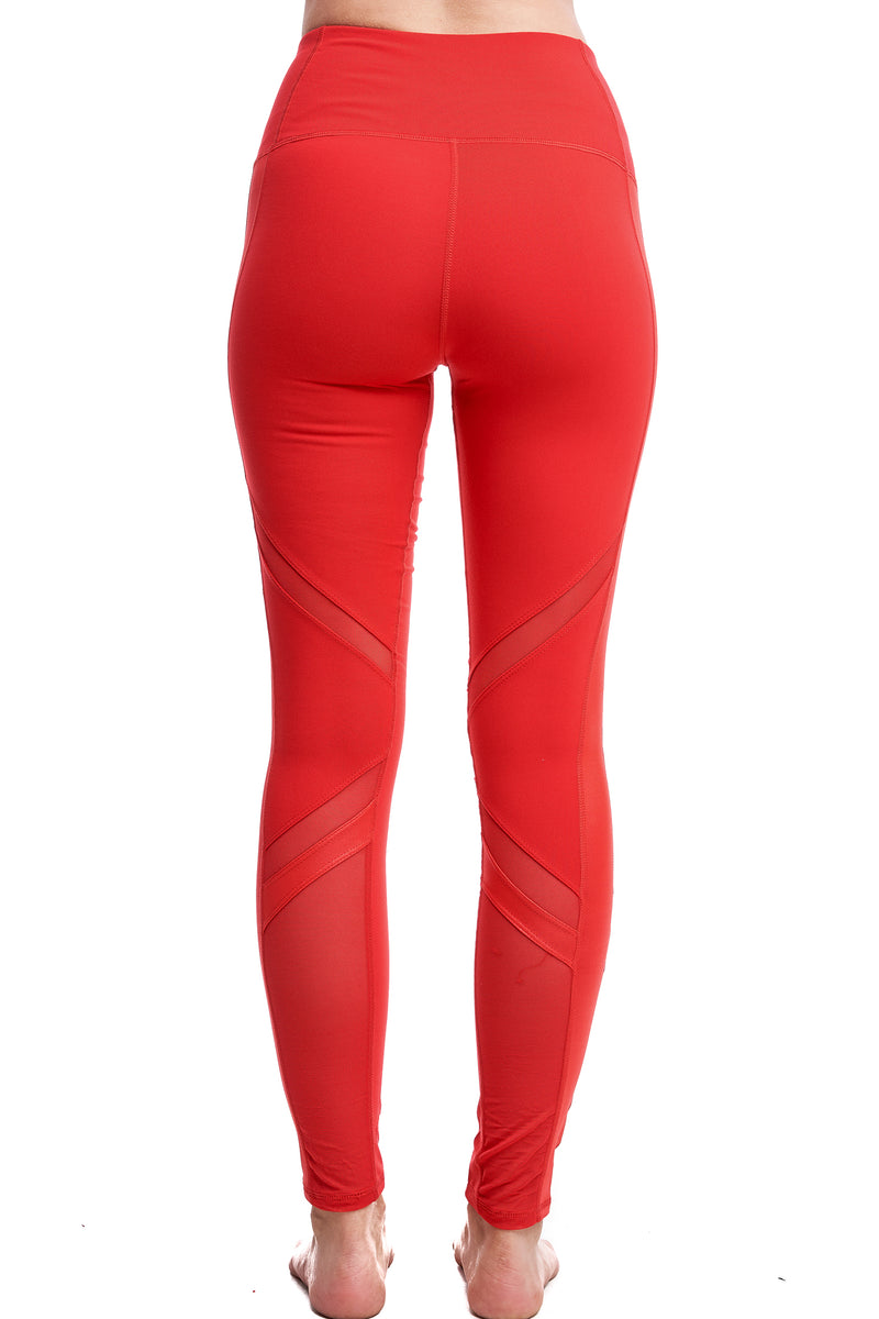 OXYGEN DIAGONAL-MESH LEGGINGS | RED