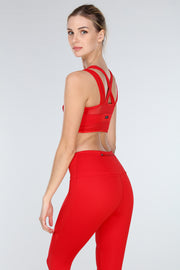 LUX CROSS-OVER SPORTS BRA | RED