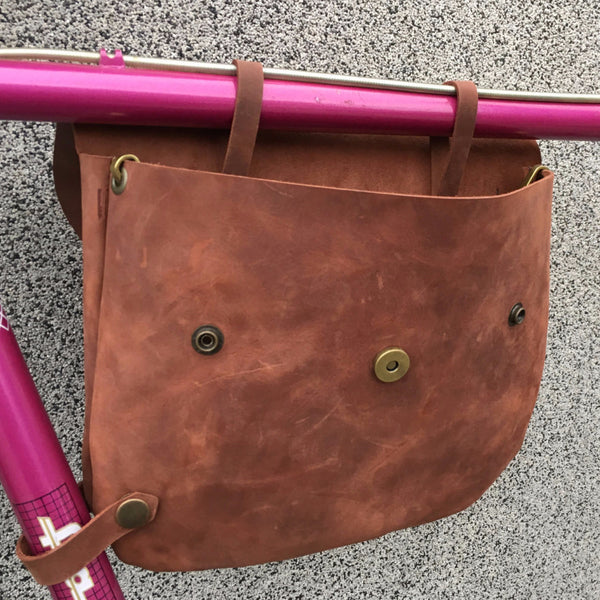 Bicycle Leather Frame Bag - Thanks to removable top tube straps can bag be easily accessed while attached to bicycle