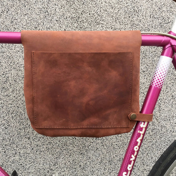 Bicycle Leather Frame Bag - Has large quick access pocket in the back side.
