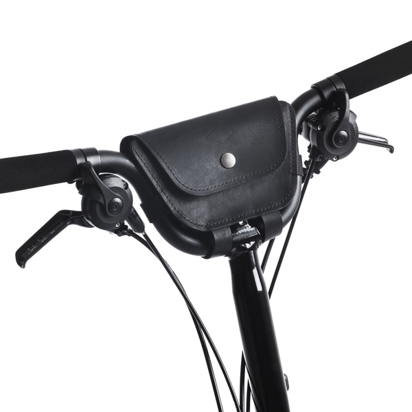 "Brompton 2017+ Leather Handlebar Bag ""BLACK"""