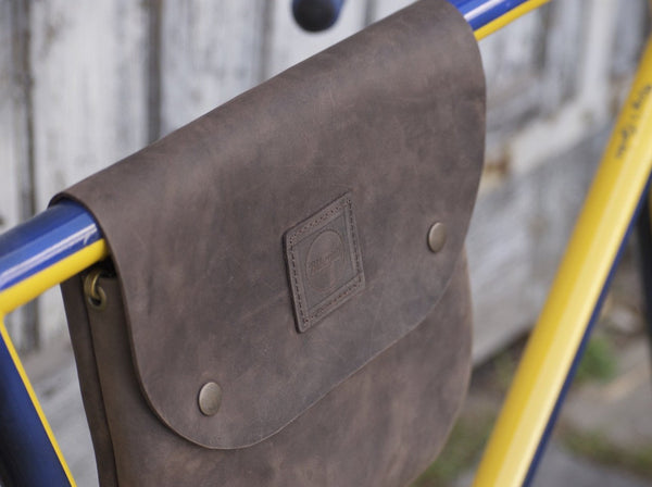 Bicycle Leather Frame Bag - made our of high quality full grain oil tan leather which will beautify over time