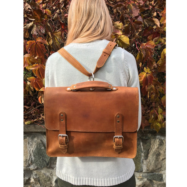 "Medium Leather Briefcase / Laptop Bag / Backpack ""TOPAZ"""