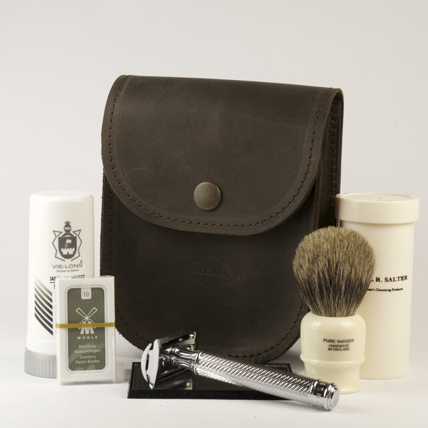 Leather traveler shaving kit Dark - Luxury solution for shaving while traveling