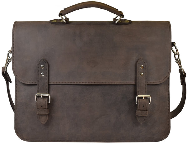 Leather Classic Briefcase, laptop bag - Whiskey - Large - Thick full grain leather, luxury pigskin lining, made to last a lifetime.
