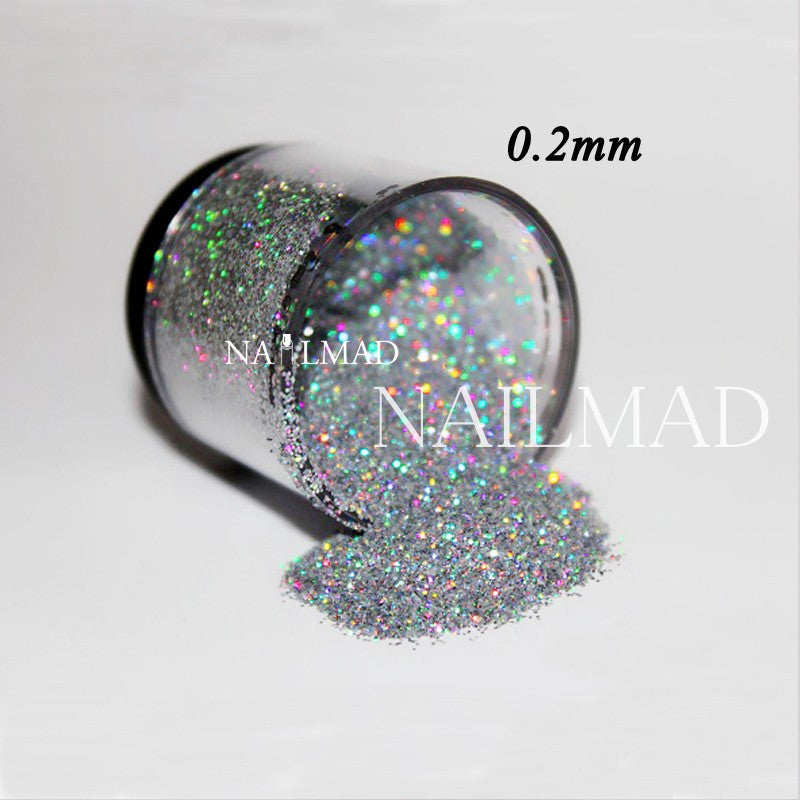 0.2mm Laser Silver Glitters Holographic Glitter Dust Powder Nails Laser