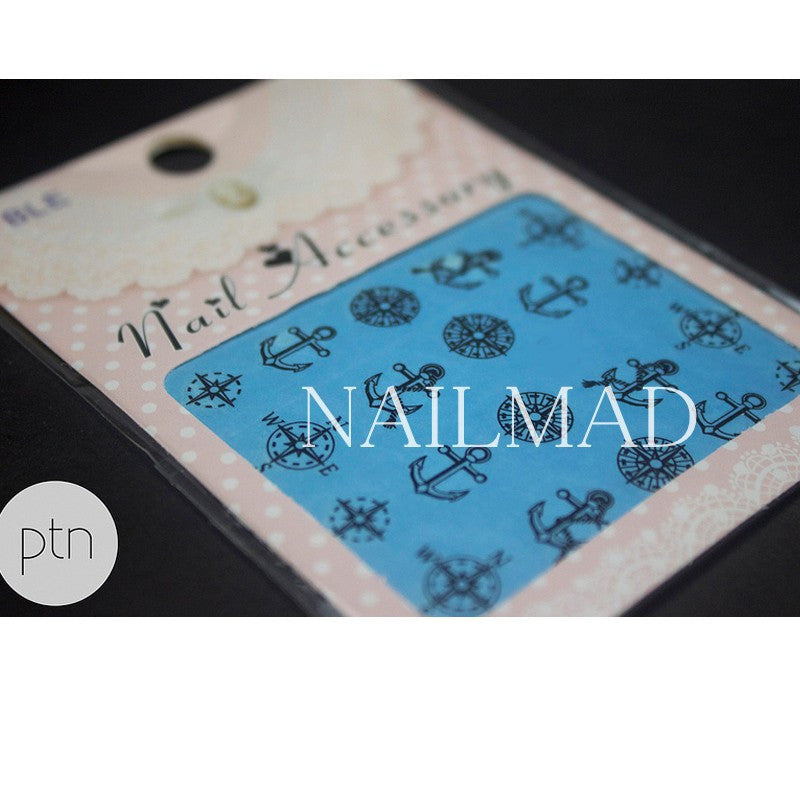 1 sheet Compass Anchors Nail Water Decals Black Transfer Stickers Nail Art