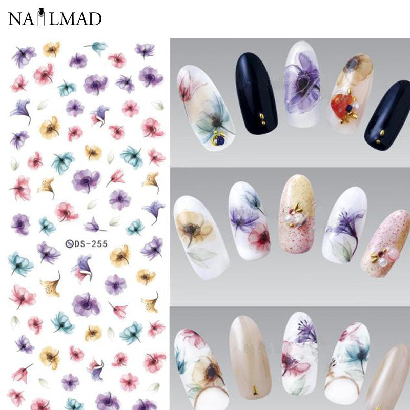 1 sheet Gradient Nail Water Decals Transfer Stickers Colorful Purple Fantacy