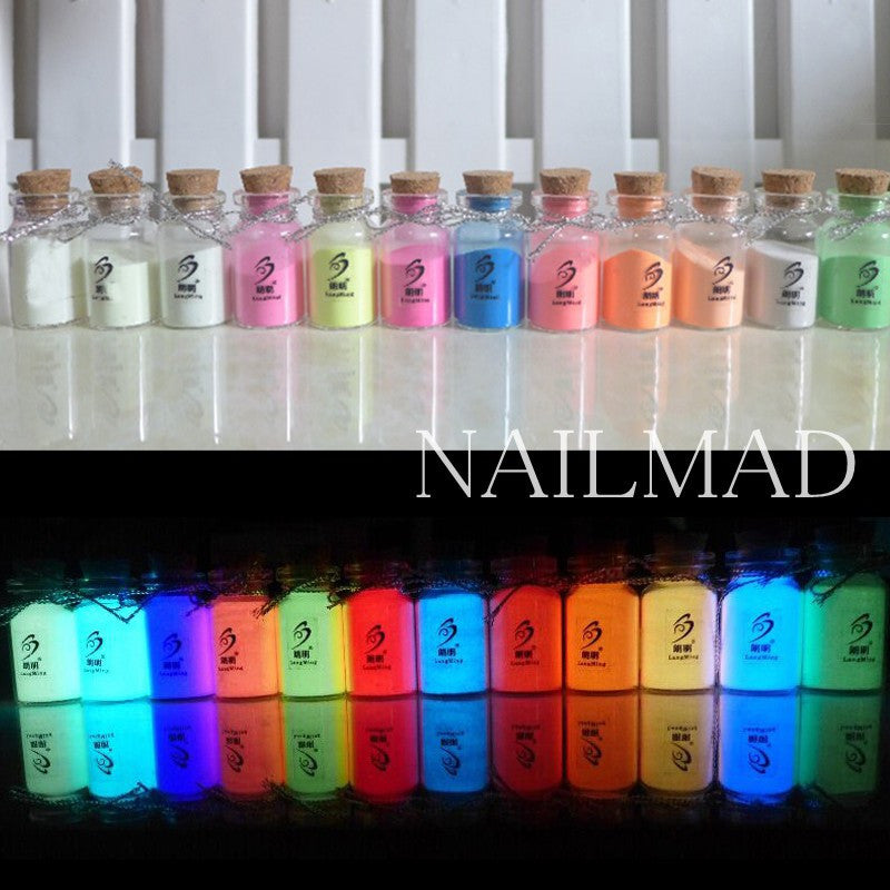 12 Colors Luminous Nail Polish Powder Glow in the Dark Glow Powder