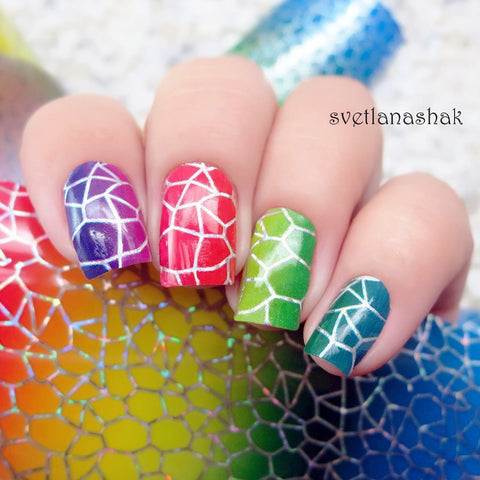 1Pc Colorful Gradient Holographic Nail Foils Nail Art Transfer Sticker Paper