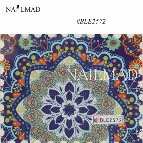 1sheet Mandala Nail Art Water Decals Paisley Pattern Nail Transfer Stickers