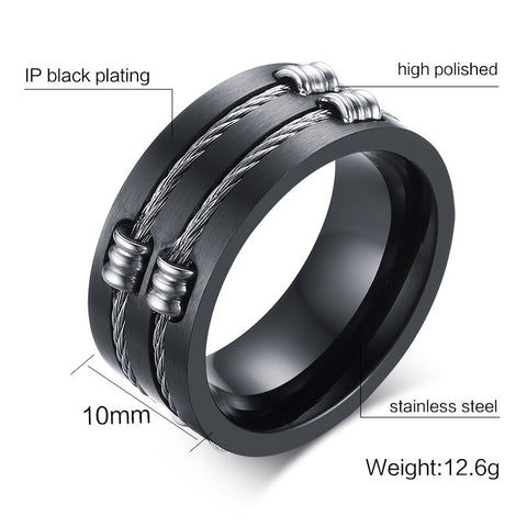 Men's Black Ring Titanium Steel Cool Wire Rings For Male Punk Rock
