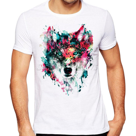 Colorful Wolf Printed T Shirt  Men's Cool Design High Quality Tops Custom