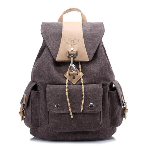 fashion women canvas backpack solid backpacks