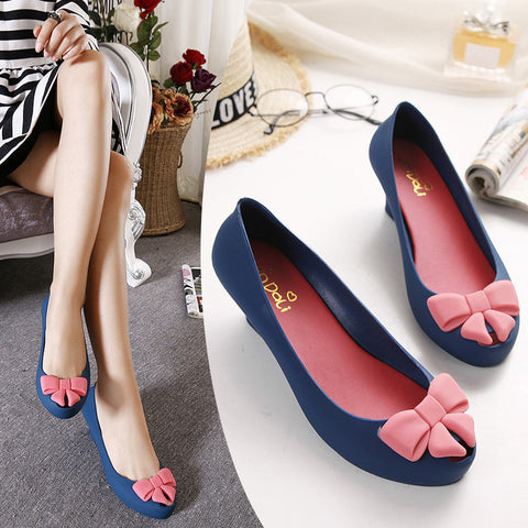 jelly shoes bow color block decoration open toe sandals waterproof