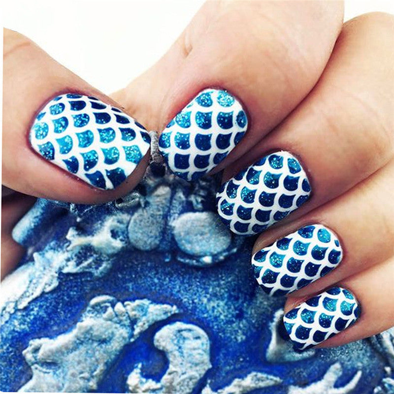 24Sheets New Nail Vinyls Hollow Irregular Grid Stencil Reusable Manicure Stickers