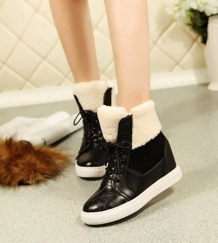 Thick Red Boots Fashion Snow Boots For Women Fur Shoes