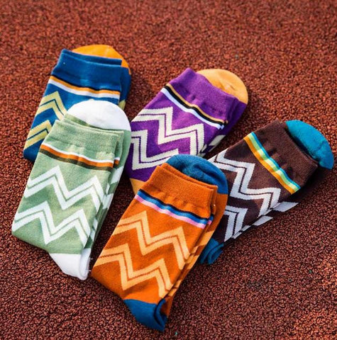 Baseball Breathable Absorbent Happy Socks Wave Stripes Classic Sock