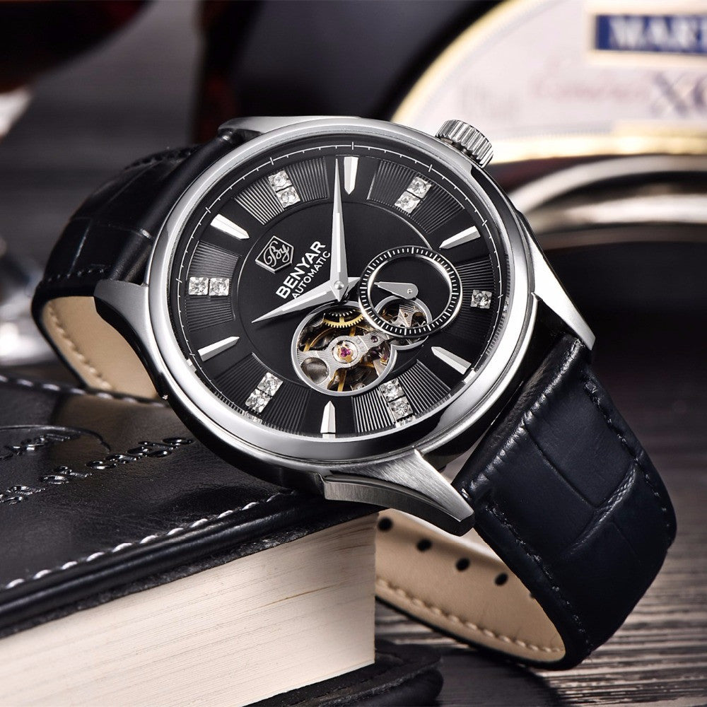 men shoppers watch luxury rreloj mechanical steel bar relogio products clock business casual imitate watches male hollow hombre golden