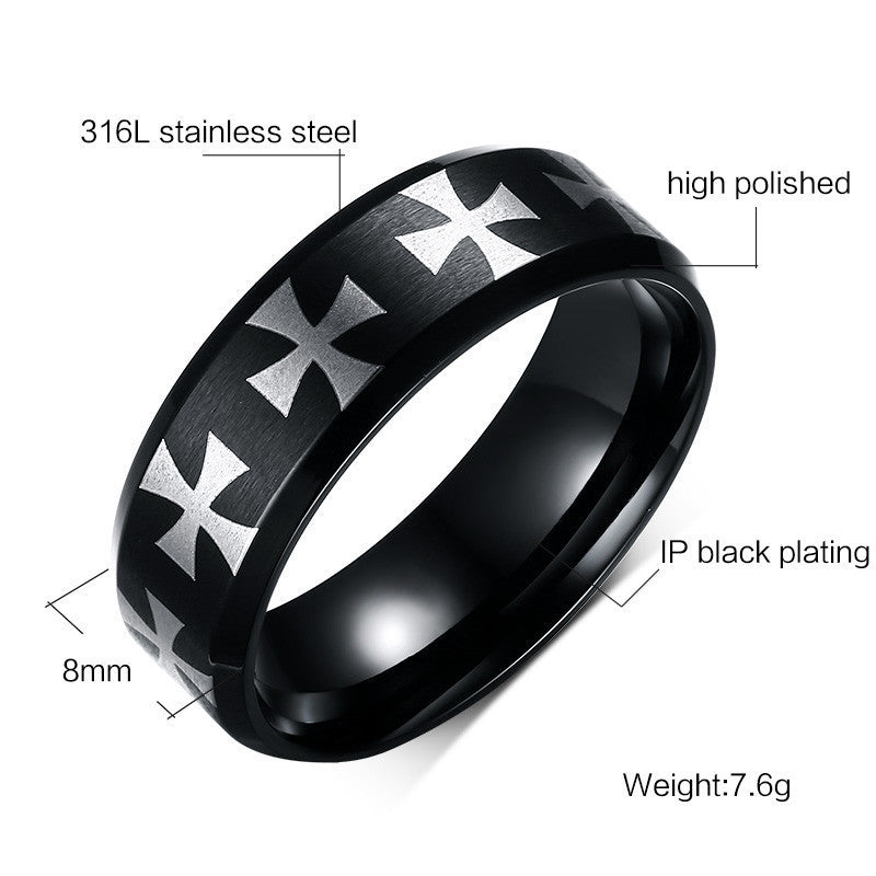 Plated Cross Ring High Polished Stainless Steel