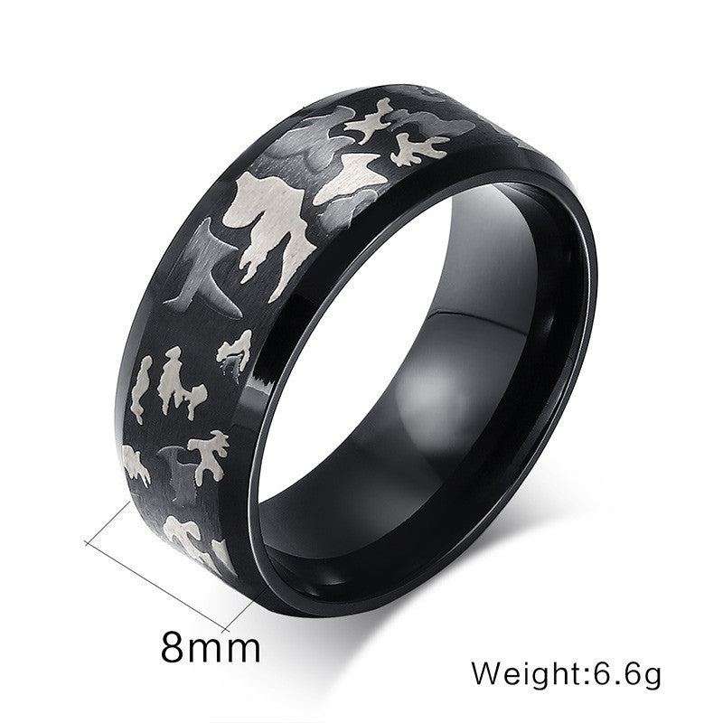 Black Men Ring Engrave Military Camouflage Stainless Steel Male Rings