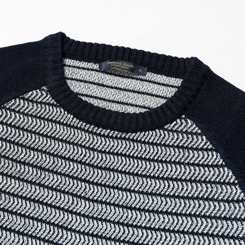 Winter O-neck Slim Casual Striped Knitted Sweater Men Pull Homme Plus