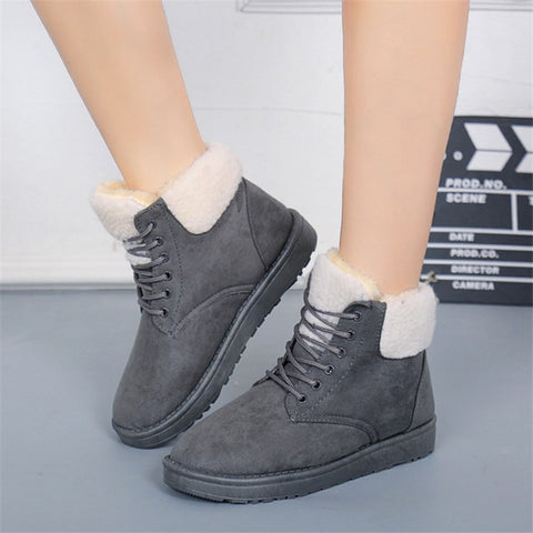Winter Suede Boots Bowtie Botas Mujer Lace up Fur Ankle Boots