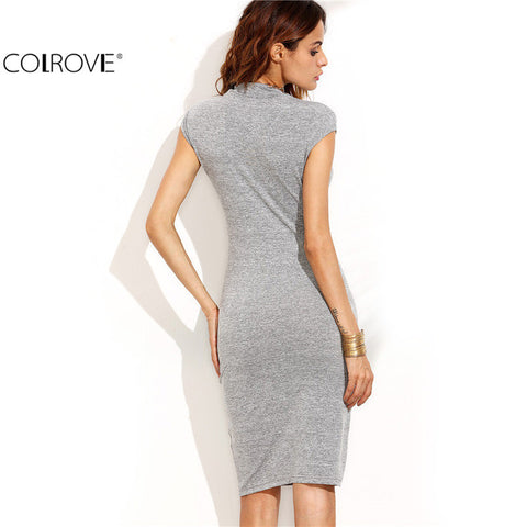 Sleeve Sheath Knee Length Dress Office Ladies Work Wear Slim Pencil Dress